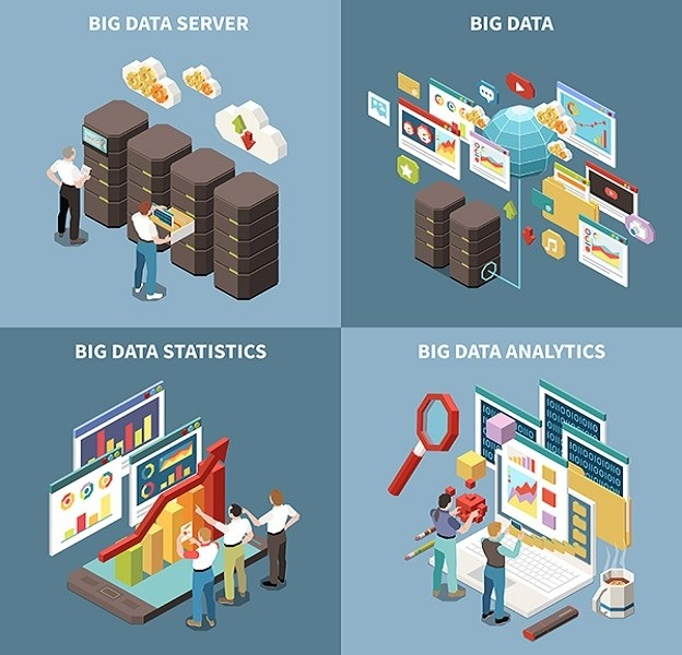 Big Data Analytics Isometric Icon Set