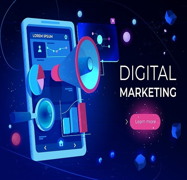 Digital marketing landing page, smartphone screen